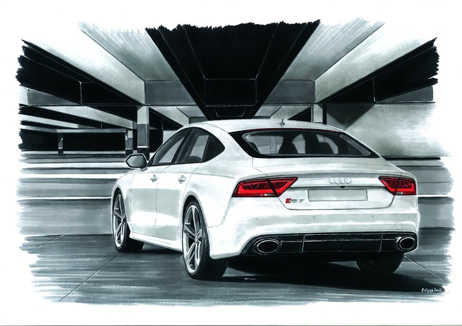 Professional Car Drawings By Hand - Audi car drawing